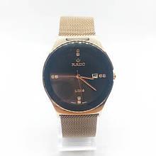 Часы женские наручные Рado, золото с черным циферблатом ( код: IBW305YB )