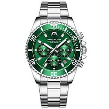 Годинники чоловічі наручні MegaLith 8046, колір срібло з зеленим циферблатом ( код: IBW358SG )