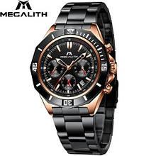Годинники чоловічі наручні MegaLith 8206, колір чорний з золотом ( код: )