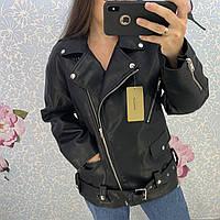 Женская удлиненная косуха oversize из кожзама черная