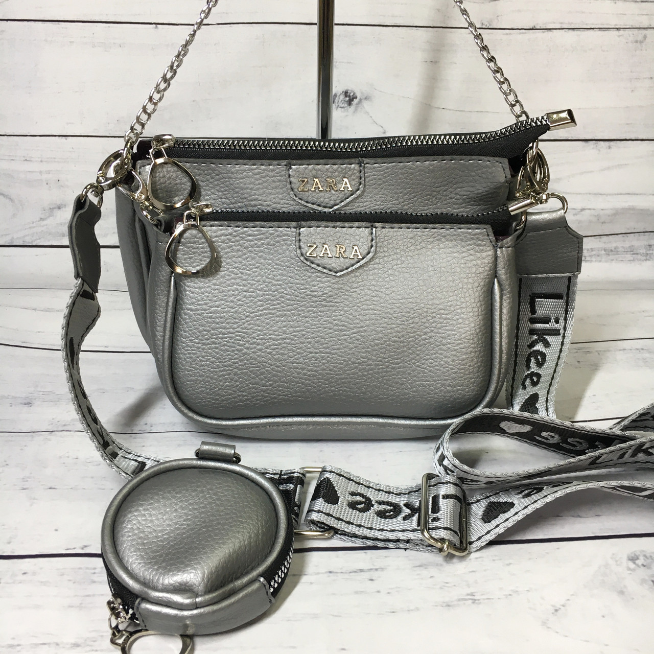 Женская сумка Zara (Зара), серебристая ( код: IBG214S )