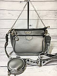 Женская сумка Zara (Зара), серебристая ( код: IBG214S ), фото 2