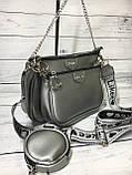Женская сумка Zara (Зара), серебристая ( код: IBG214S ), фото 3