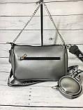 Женская сумка Zara (Зара), серебристая ( код: IBG214S ), фото 4