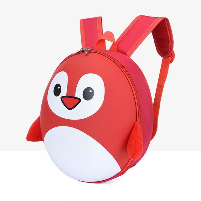 Рюкзак детский маленький, пингвин, цвет красный ( код: IBD003R )