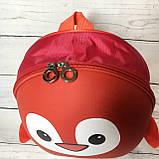 Рюкзак детский маленький, пингвин, цвет красный ( код: IBD003R ), фото 5