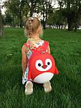 Рюкзак детский маленький, пингвин, цвет красный ( код: IBD003R ), фото 10
