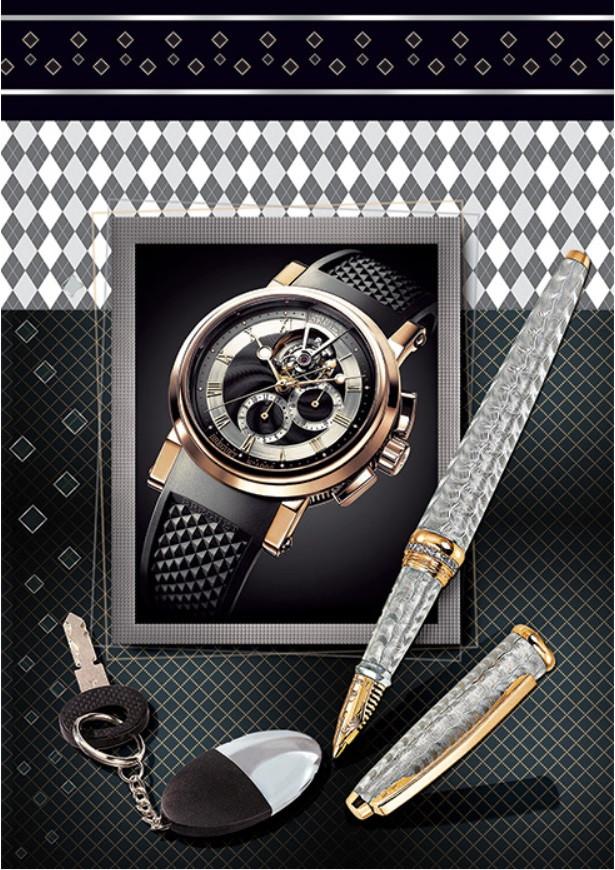 Подарочный пакет СРЕДНИЙ 17*26*8 см Часы