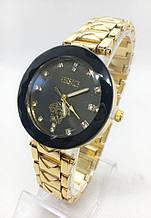 Часы женские наручные Versace (Версаче), золото с черным циферблатом ( код: IBW410YB )
