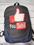 Рюкзак молодежный YouTube (Ютюб), цвет синий ( код: IBR113ZR ), фото 5