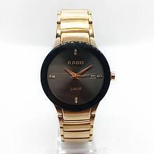 Часы женские наручные Рado, золото с черным циферблатом ( код: IBW283YB )