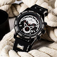 Часы мужские наручные MegaLith 8042M, цвет черный с белым ( код: IBW343BO )