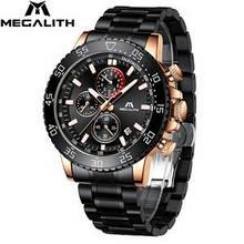 Годинники чоловічі наручні MegaLith 8087, колір чорний з золотом ( код: )