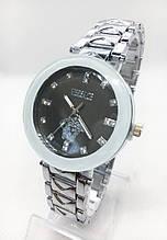 Часы женские наручные Versace (Версаче), серебро с черным циферблатом ( код: IBW410SB )