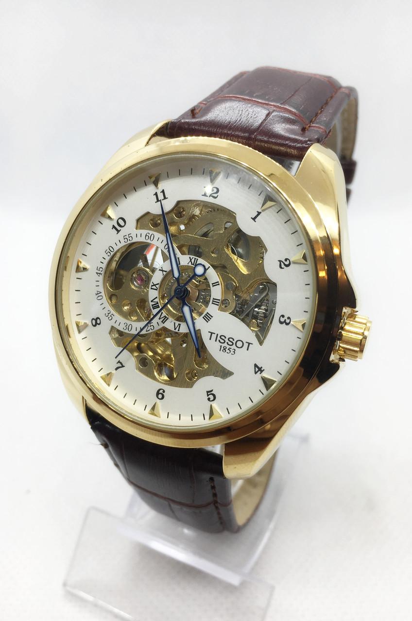 Мужские механические часы Tissot (Тиссот), золото с коричневым ремешком ( код: IBW406YKO )