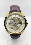 Мужские механические часы Tissot (Тиссот), золото с коричневым ремешком ( код: IBW406YKO ), фото 2