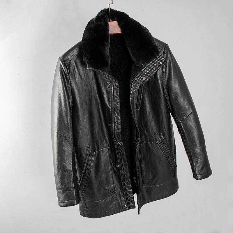 Полу-пальто зимнее кожаное мужское на меху