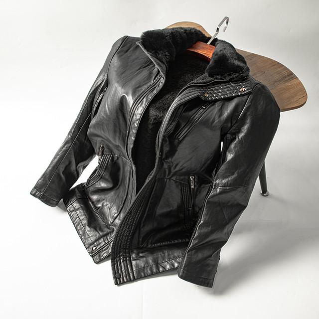 Пальто кожаное мужское зимнее