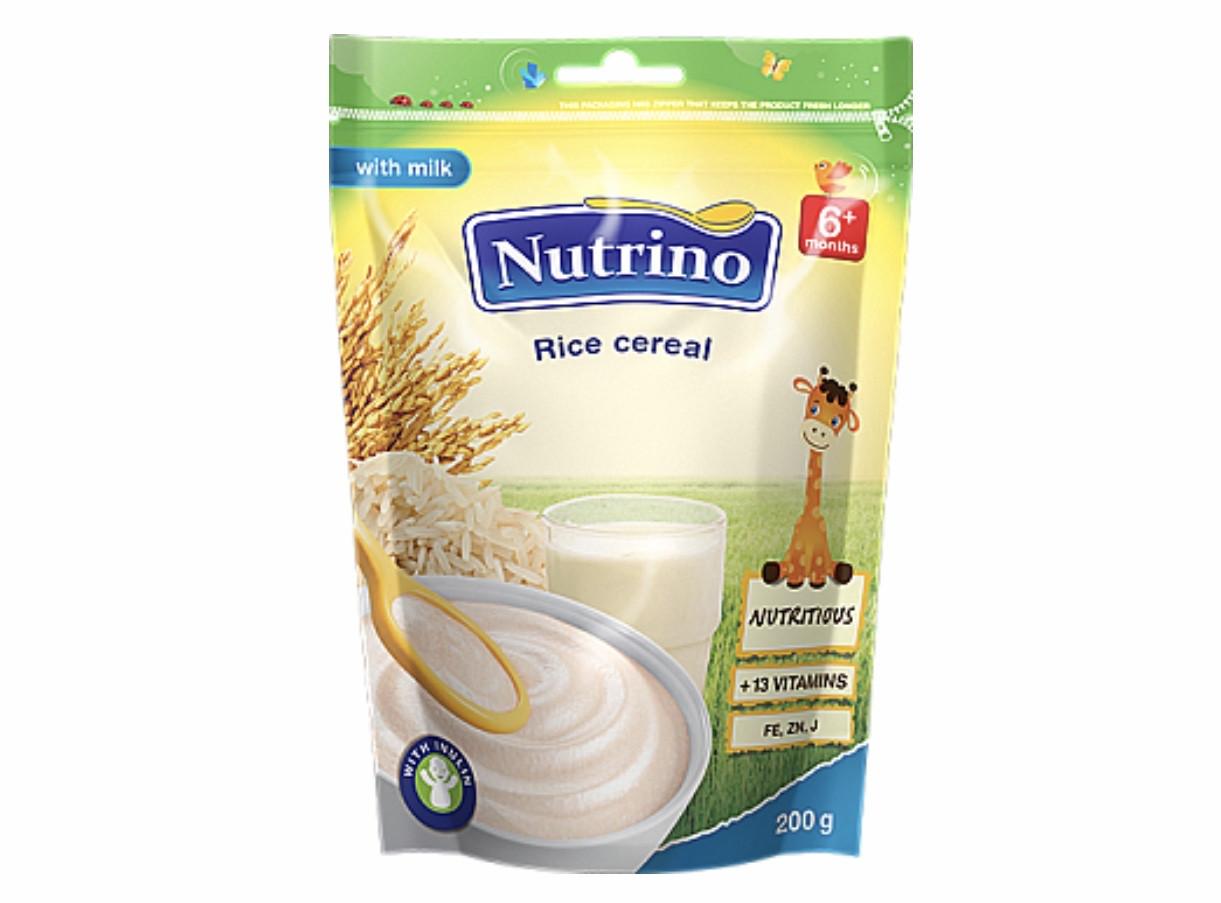 """Каша сухая молочная быстрорастворимая с рисом 200г ТМ """"NUTRINO"""" с 6 месяцев."""