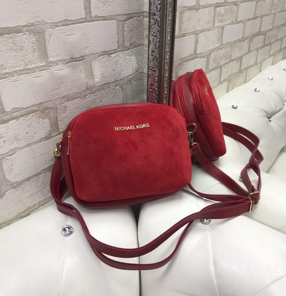 Маленькая женская сумка клатч красная сумочка через плечо стильная молодежная кроссбоди замша+кожзам