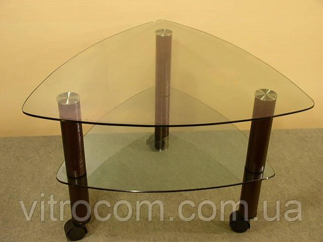 Кофейный стеклянный столик  Дэльта-мини прозрачный