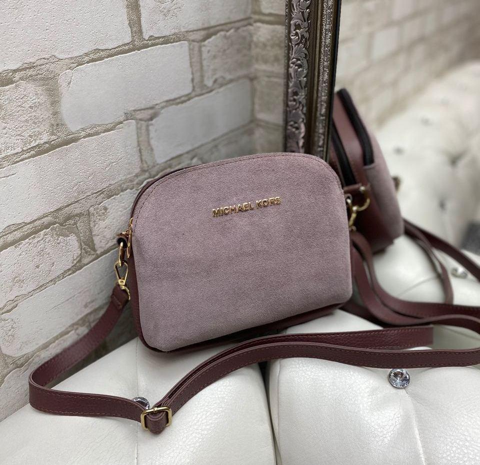 Маленькая женская сумка клатч пудровая стильная сумочка через плечо молодежная кроссбоди замша+кожзам
