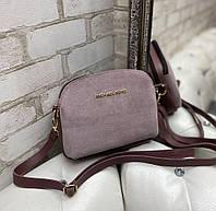 Маленькая женская сумка клатч пудровая стильная сумочка через плечо молодежная кроссбоди замша+кожзам, фото 1