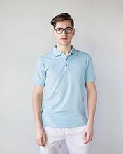 Мужская медицинская футболка поло голубая размеры S - ХХL