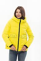 Красивый женский пуховик Vivilona 6003 жёлтого цвета, фото 1