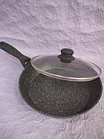 Глибока сковорода з кришкою (26*5 см). Сковорідка з гранітним покриттям