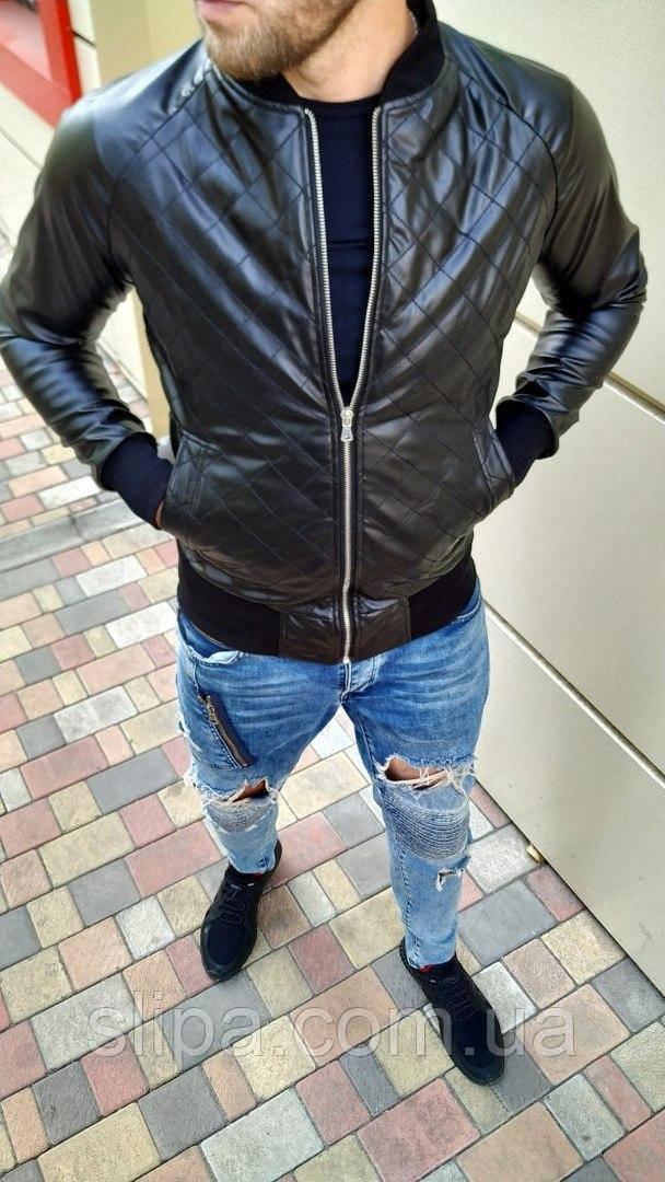 Чоловіча куртка-бомбер Ромбик з шкірозамінника