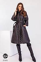 Стёганное пальто миди в черном и розовом цвете