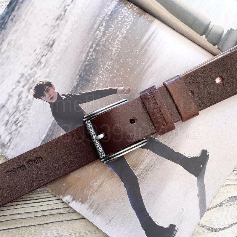 Чоловічий шкіряний ремінь Calvin Klein репліка Коричневі