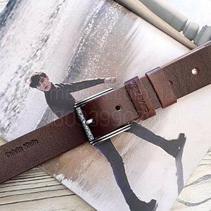 Мужской кожаный ремень Calvin Klein реплика Коричневые