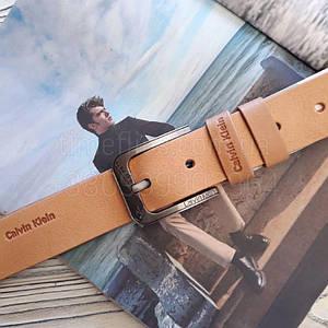 Мужской кожаный ремень Calvin Klein реплика Светло-коричневые