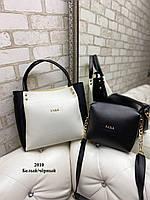 Женская сумочка+клатч Белая с черным. Шикарная сумочка клатч Zara. Комплект женская сумка Zara Зара и клатч., фото 2