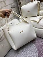 Женская сумочка+клатч Белая. Шикарная сумочка клатч Zara. Комплект женская сумка Zara Зара и клатч., фото 2