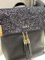 Женская сумка-рюкзак глиттер копия из кожзама  Черный (ZARA, YVES SAINT LAURENT, Michael Kors), фото 5