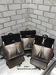 Модна сумка-рюкзак з якісного шкірозамінника з натуральною замшею (ZARA, YVES SAINT LAURENT, Michael Kors)