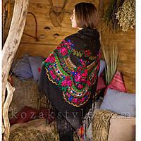 Українська хустка чорна (120х120), фото 1