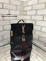 Модная сумка-рюкзак из качественного кожзама с натуральной замшей Черный-Красный (ZARA, YVES SAINT LAURENT, Michael Kors), фото 3