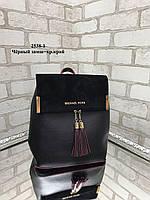Модная сумка-рюкзак из качественного кожзама с натуральной замшей Черный-Красный (ZARA, YVES SAINT LAURENT, Michael Kors), фото 4