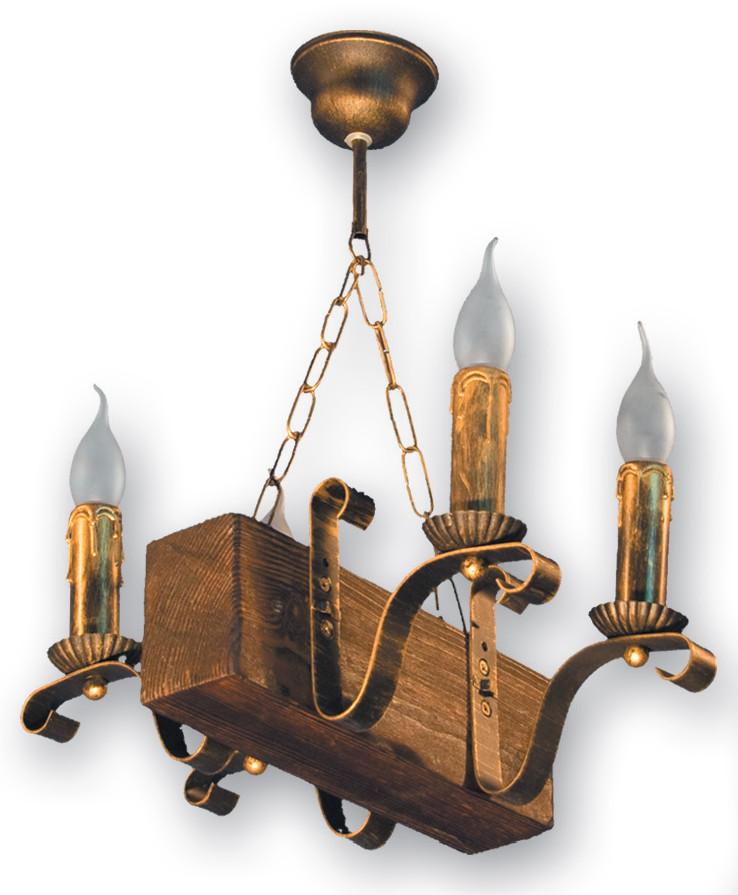 Люстра из дерева подвес бревно на 4 свечи 130924