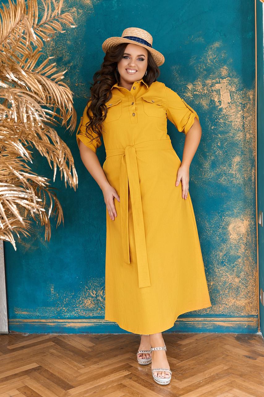 Летнее женское платье-рубашка большого размера. Плате рубашка большого размера летнее. Стильное платье- рубашка больших размеров.