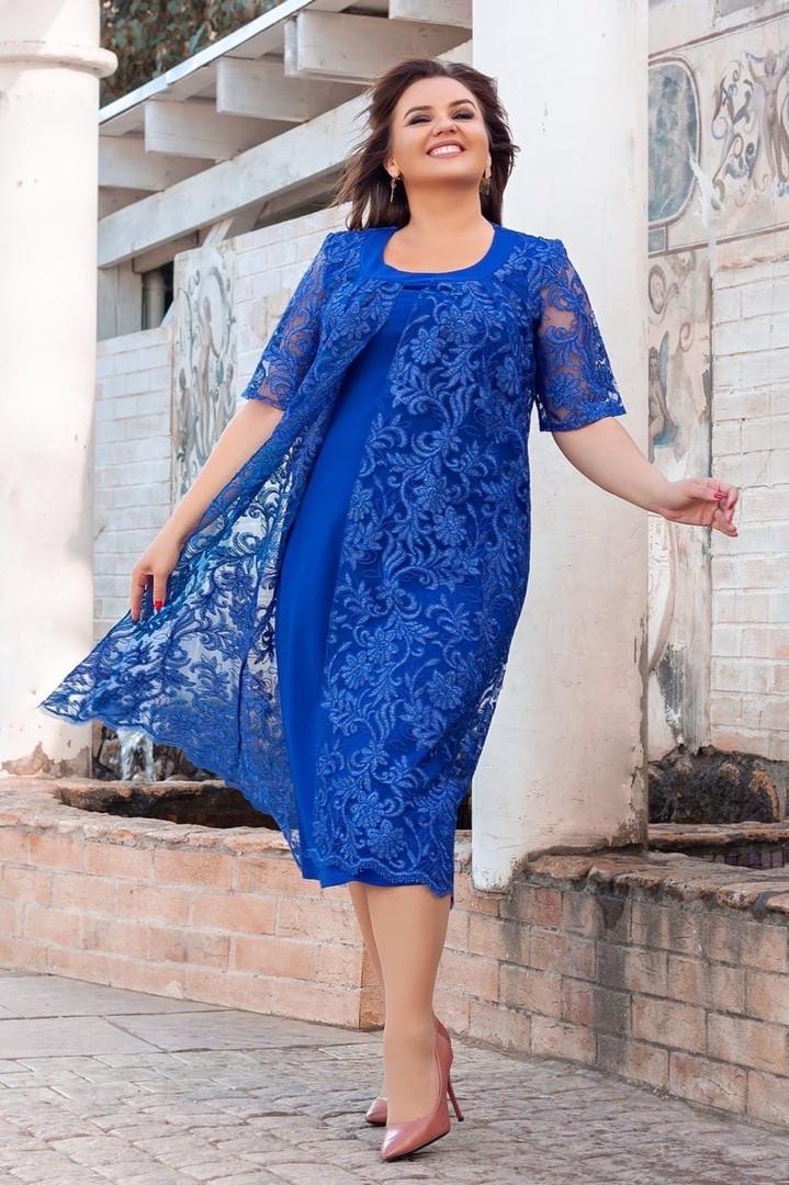 Платье женское большого размера с гипюровой накидкой короткий рукав, Платье женское вечернее, нарядное, стильное, большого размера