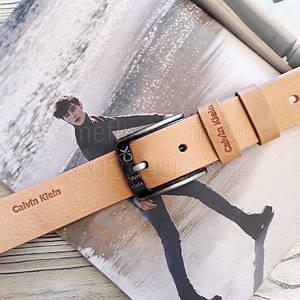 Мужской кожаный ремень Calvin Klein реплика Бежевый