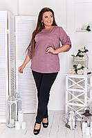 Стильный комфортный костюм блуза + брюки из трикотажа дайвинг. Модный женский стильный летний брючный костюм батал. Женский брючный костюм батал., фото 2