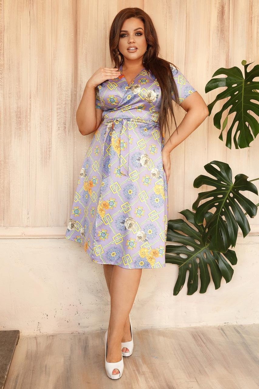 Платье ниже колен большого размера.  Шелковое платье на запах. Платье ниже колен с принтом большие размеры. Женские платья больших размеров ниже