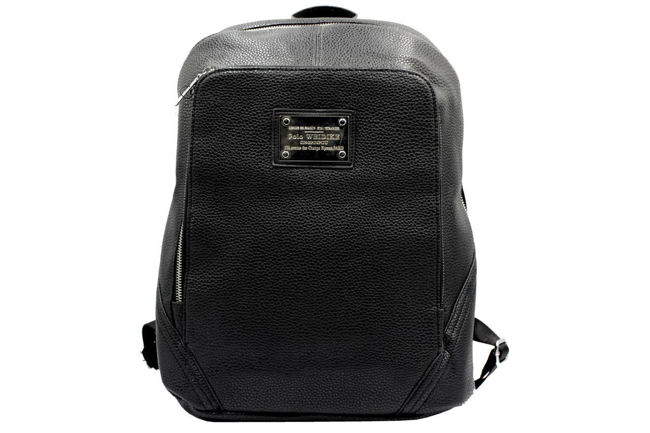 Городской рюкзак унисекс из кож-зама черного цвета.