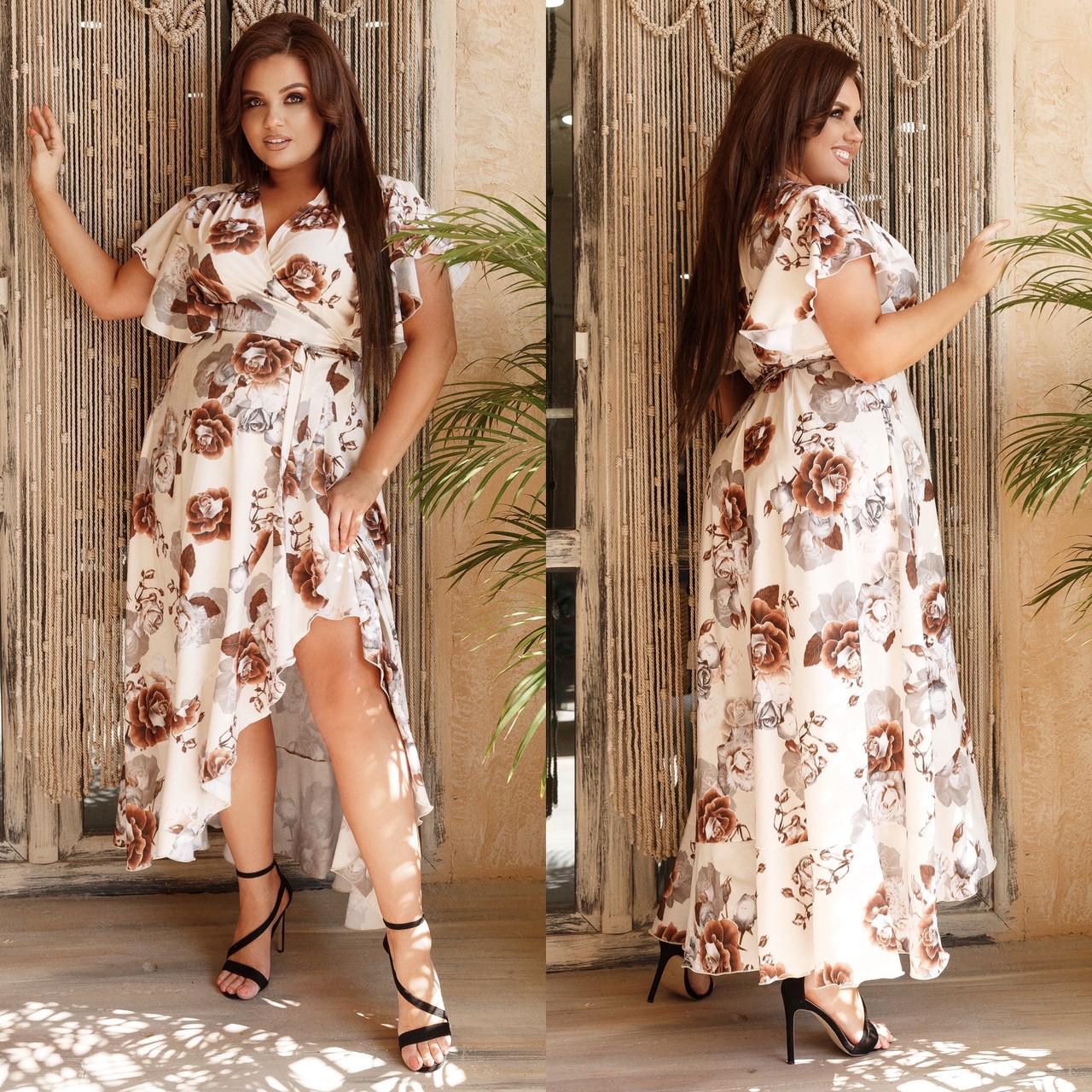 Женское длинное платье на запах летнее. Нарядное платье на запах с поясом летнее. Летние платья на запах цветочный принт. Платье с запахом большого